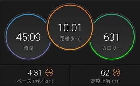 10kmランニング 消費カロリー