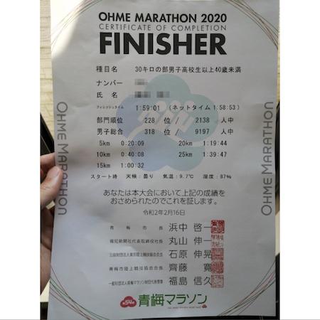 青梅マラソン_完走証